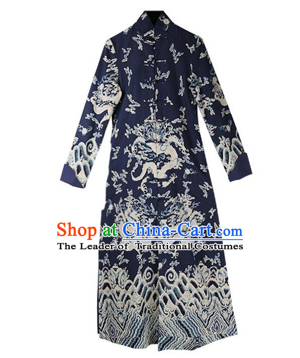 Traditional Chinese Costume Elegant Hanfu Printing Pattern Dress, China Tang Suit Plated Buttons Cheongsam Navy Qipao Dress Clothing for Women