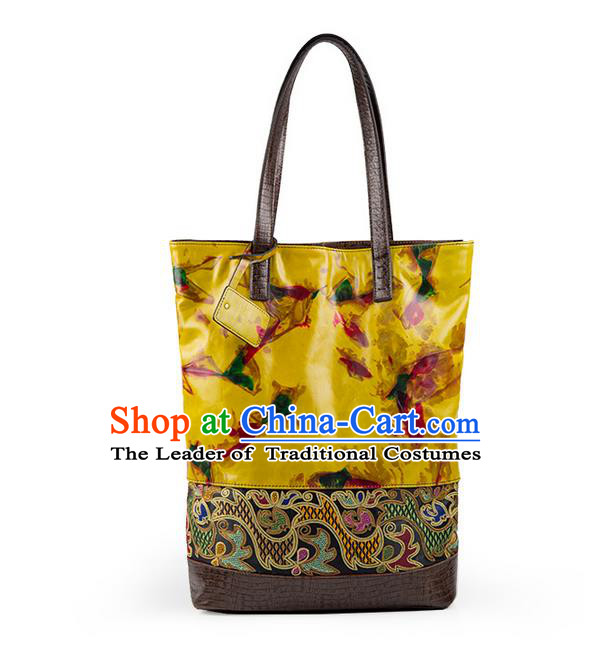 Traditional Chinese Accessories National Embroidery Bags, China Cow Leather Bags for Women