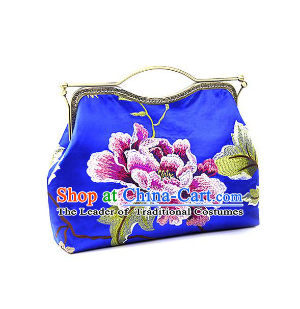 Traditional Chinese Accessories National Embroidery Blue Bags, China Shell Bag Handbag for Women