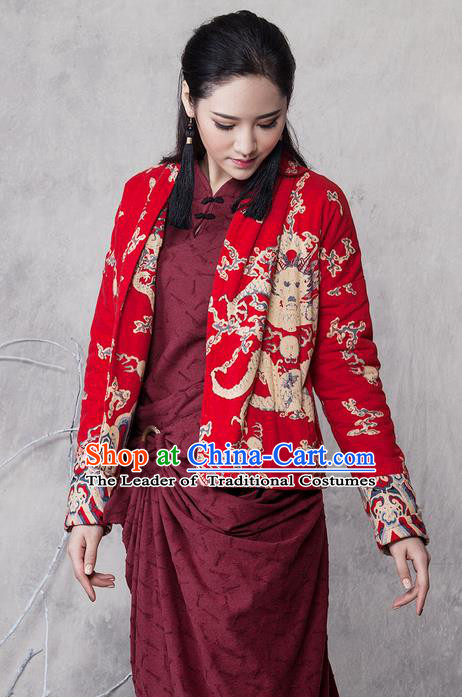 Traditional Chinese Costume Elegant Hanfu Embroidered Dragon Short Coat, China Tang Suit Red Jacket Clothing for Women