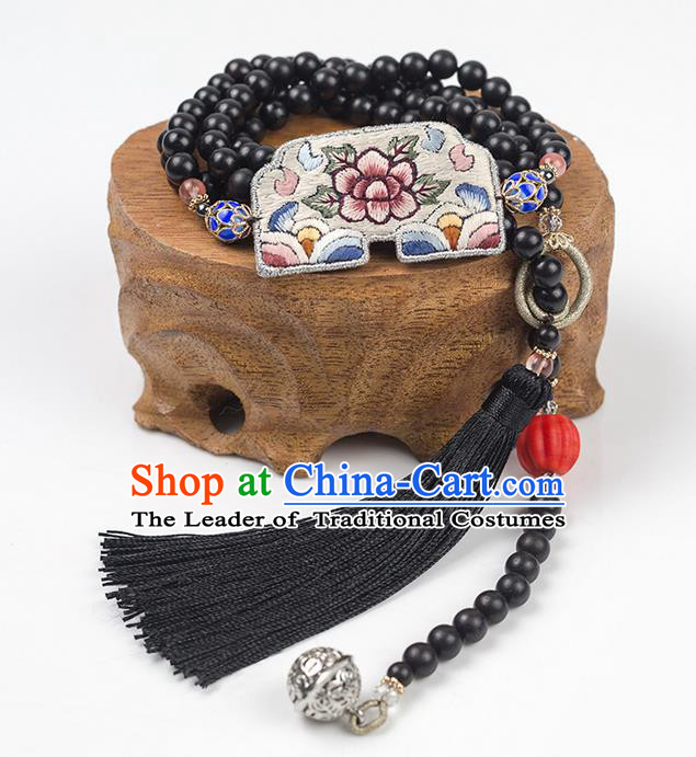 Traditional Chinese Accessories National Tibetan Silver Necklace, China Black Beads Tassel Necklet for Women