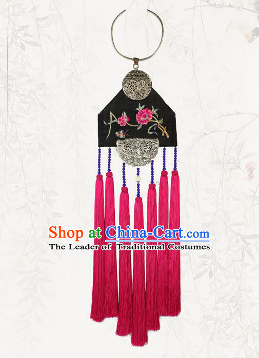 Traditional Chinese Accessories National Embroidered Necklace, China Miao Sliver Tassel Necklet for Women