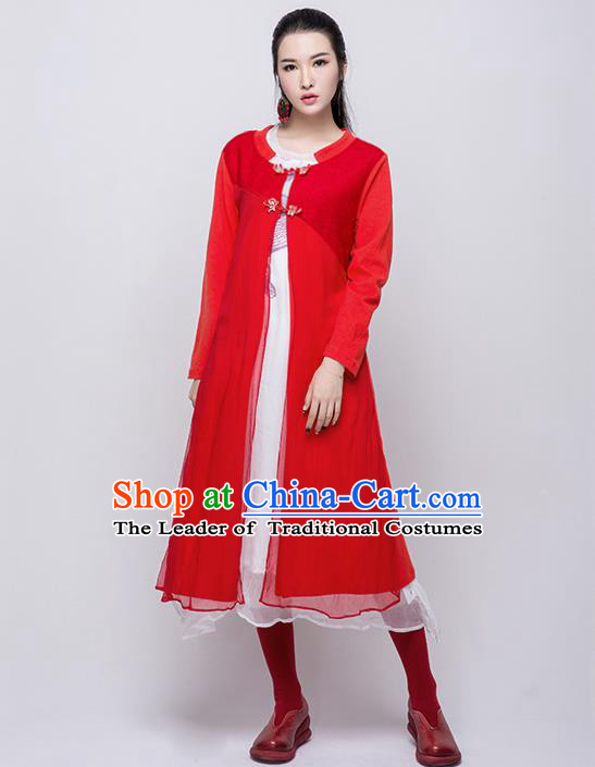Traditional Chinese Costume Elegant Hanfu Long Coat, China Tang Suit Plated Buttons Red Dust Coat Cardigan Clothing for Women