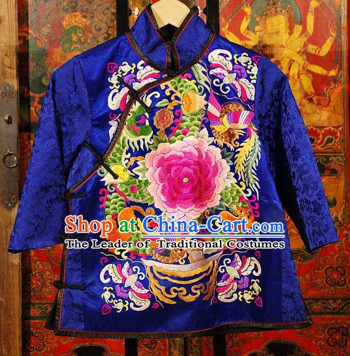 Traditional Chinese Costume Elegant Hanfu Embroidery Peony Blouse, China Tang Suit Plated Buttons Blue Jacket Short Coat Clothing for Women