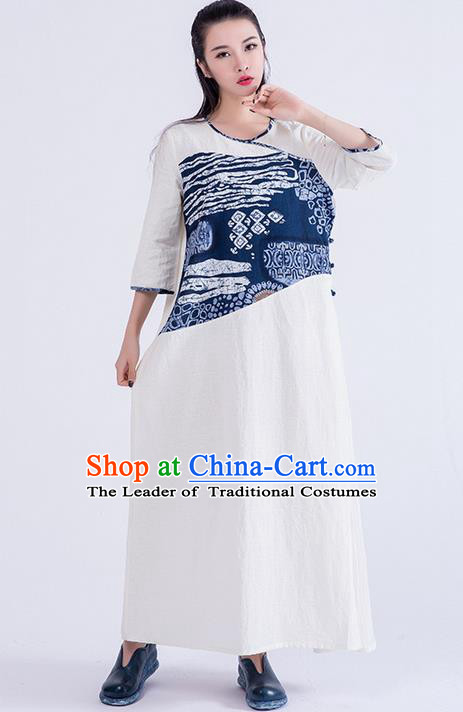 Traditional Chinese Costume Elegant Hanfu Printing Dress, China Tang Suit Linen Qipao Dress Clothing for Women