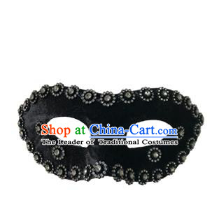 Top Grade Halloween Masquerade Accessories Rivet Mask, Brazilian Carnival Black Mask for Men