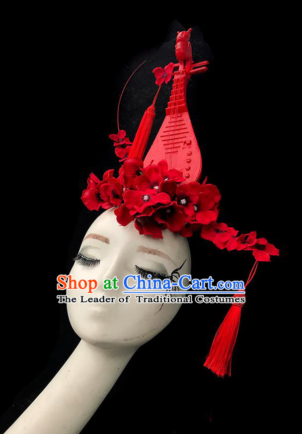 Top Grade Chinese Traditional Halloween Hair Accessories, China Style Cosplay Red Lute Headwear Catwalks Headpiece for Women