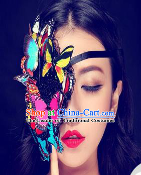 Top Grade Halloween Masquerade Ceremonial Occasions Handmade Model Show Colorful Butterfly Mask Headwear, Brazilian Carnival Half Mask for Women