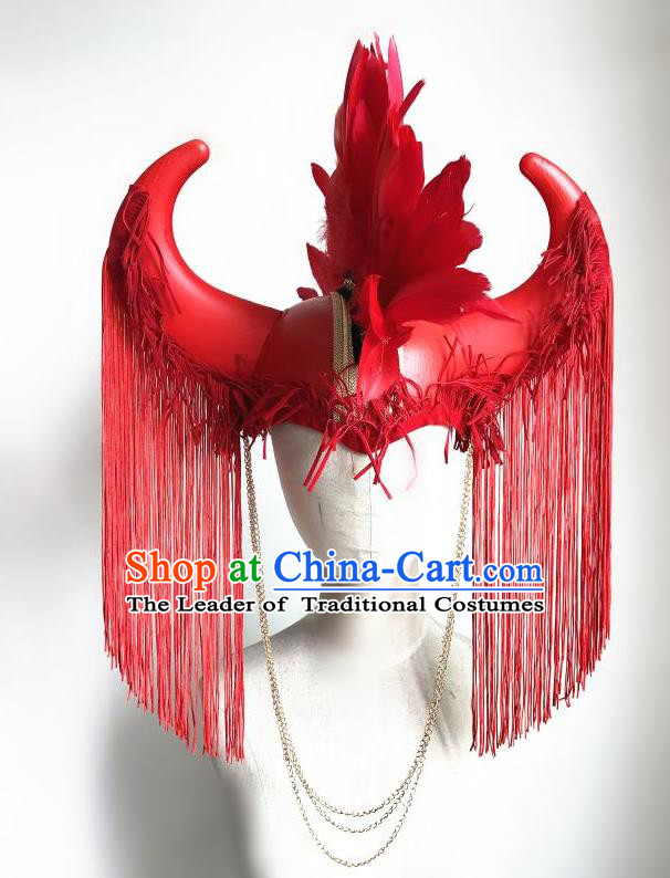 Top Grade Halloween Masquerade Ceremonial Occasions Handmade Model Show Red Feather Ox Horn Hair Accessories Headdress Tassel Pirate Hat for Women