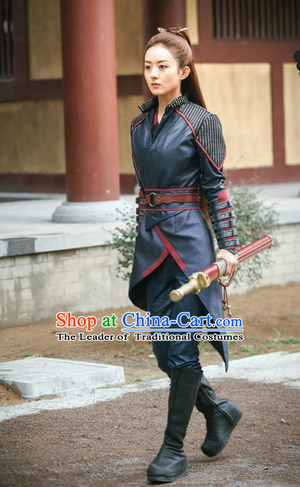 Traditional Ancient Chinese Female Assassin Clothing, Princess Agents Chinese Southern and Northern Dynasties Swordswoman Costume and Headpiece Complete Set