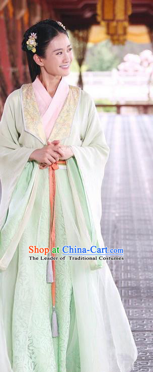 Traditional Ancient Chinese Young Lady Dress Clothing, Princess Agents Chinese Southern and Northern Dynasties Palace Lady Costume and Headpiece Complete Set