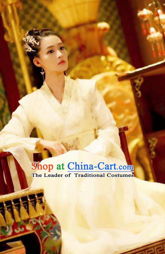 Traditional Ancient Chinese Peri Embroidered Dress Clothing, Princess Agents Chinese Southern and Northern Dynasties Imperial Princess Costume and Headpiece Complete Set