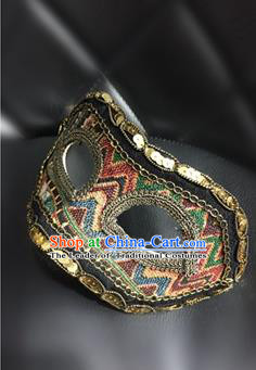 Top Grade Chinese Theatrical Headdress Ornamental Golden Mask, Halloween Fancy Ball Ceremonial Occasions Handmade Blindfold for Men