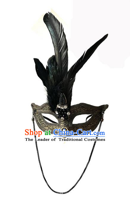 Top Grade Chinese Theatrical Luxury Headdress Ornamental Feather Mask, Halloween Fancy Ball Ceremonial Occasions Handmade Golden Lace Face Mask for Men