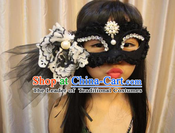 Top Grade Chinese Theatrical Luxury Headdress Ornamental Black Veil Mask, Halloween Fancy Ball Ceremonial Occasions Handmade Flower Face Mask for Women