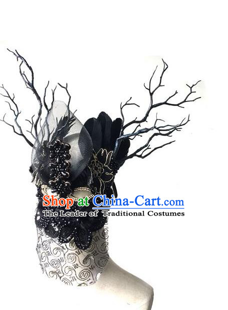 Top Grade Chinese Theatrical Luxury Headdress Ornamental Black Feather Veil Mask, Halloween Fancy Ball Ceremonial Occasions Handmade Headwear Face Mask for Women