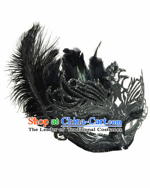 Top Grade Chinese Theatrical Luxury Headdress Ornamental Black Feather Mask, Halloween Fancy Ball Ceremonial Occasions Handmade Face Mask for Women