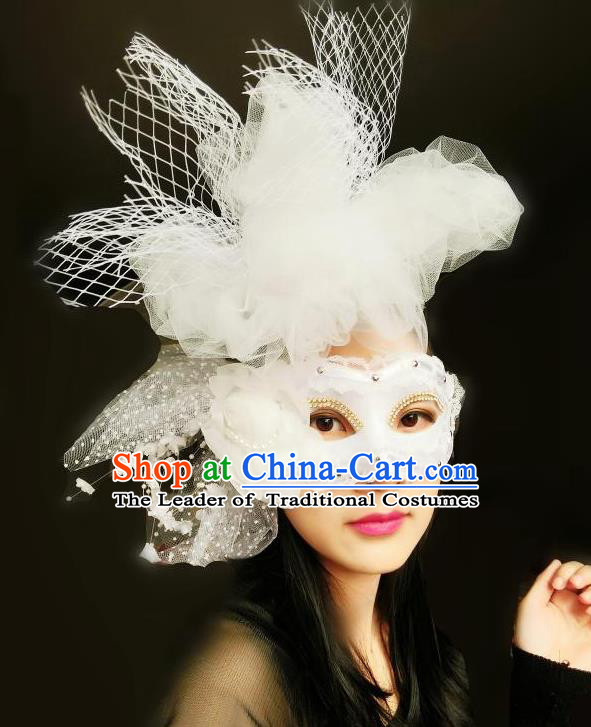 Top Grade Chinese Theatrical Luxury Headdress Ornamental White Lace Mask, Halloween Fancy Ball Ceremonial Occasions Handmade Veil Face Mask for Women