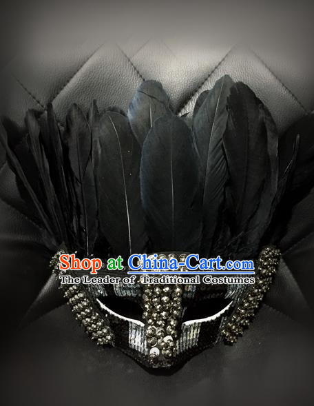 Top Grade Chinese Theatrical Luxury Headdress Ornamental Feather Mask, Halloween Fancy Ball Ceremonial Occasions Handmade Jazz Dance Face Mask for Men