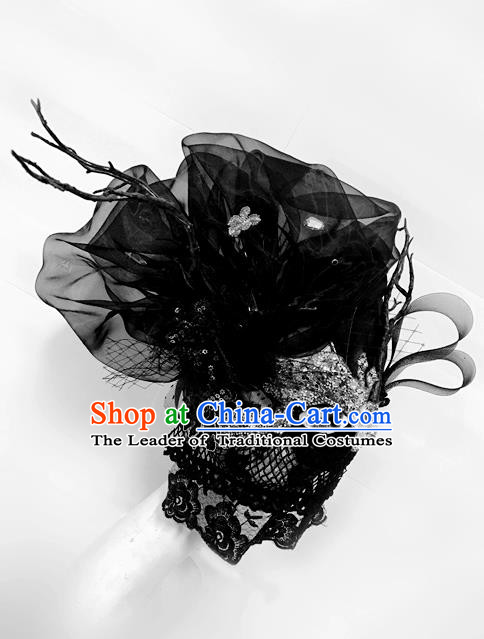 Top Grade Chinese Theatrical Luxury Headdress Ornamental Black Veil Mask, Halloween Fancy Ball Asian Headpieces Model Show Headwear for Women