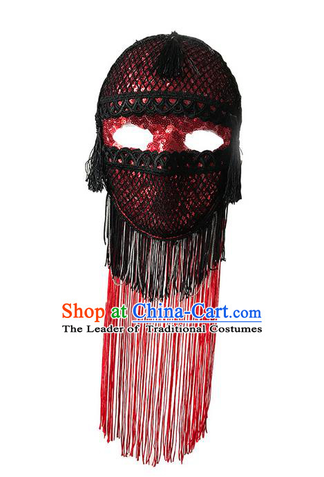 Top Grade Chinese Theatrical Luxury Headdress Ornamental Jazz Dance Mask, Halloween Fancy Ball Ceremonial Occasions Handmade Red Tassel Face Mask for Men