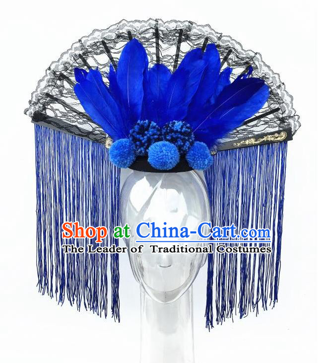 Top Grade Chinese Asian Headpiece Headpieces Model Show Blue Tassel Headdress, Ceremonial Occasions Handmade Traditional Ornamental Flowers Floral Headdress for Women
