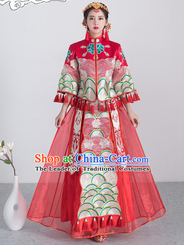 Traditional Ancient Chinese Wedding Costume Handmade XiuHe Suits Embroidery Dress Bride Toast Red Cheongsam, Chinese Style Hanfu Wedding Clothing for Women