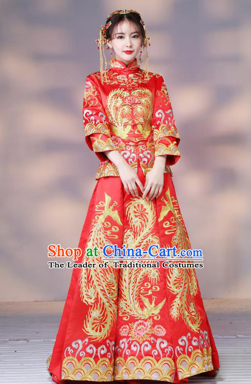 Traditional Ancient Chinese Wedding Costume Handmade XiuHe Suits Embroidery Phoenix Red Dress Bride Toast Cheongsam, Chinese Style Hanfu Wedding Clothing for Women