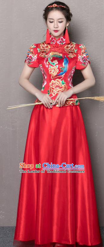 Traditional Ancient Chinese Wedding Costume Handmade XiuHe Suits Embroidery Peony Dress Bride Toast Red Cheongsam, Chinese Style Hanfu Wedding Clothing for Women