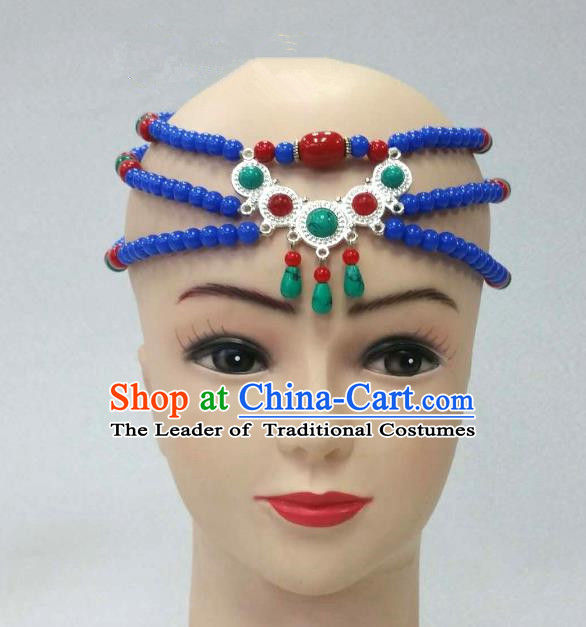 Traditional Handmade Chinese Mongol Nationality Handmade Beads Hair Accessories, China Mongols Mongolian Minority Nationality Headwear for Women