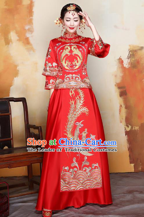 Traditional Ancient Chinese Wedding Costume Handmade XiuHe Suits Embroidery Xi Clothing Bride Toast Plated Buttons Cheongsam, Chinese Style Hanfu Wedding Clothing for Women