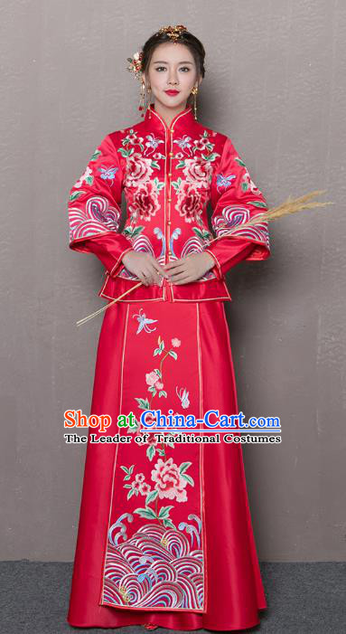 Traditional Ancient Chinese Wedding Costume Handmade XiuHe Suits Embroidery Peony Red Long Sleeve Dress Bride Toast Cheongsam, Chinese Style Hanfu Wedding Clothing for Women