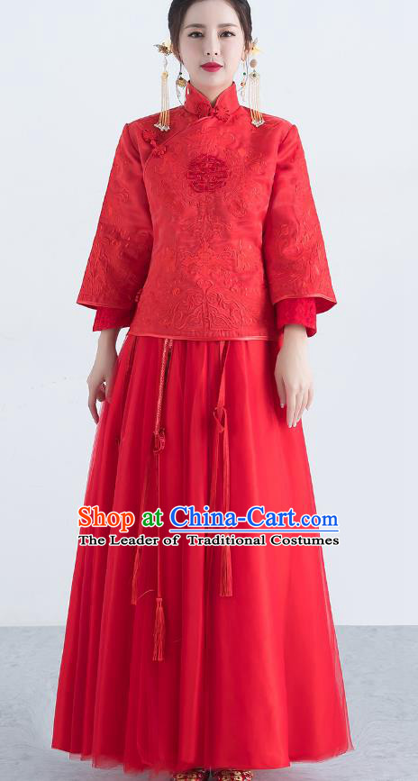 Traditional Ancient Chinese Wedding Costume Handmade XiuHe Suits Embroidery Red Veil Dress Bride Toast Cheongsam, Chinese Style Hanfu Wedding Clothing for Women