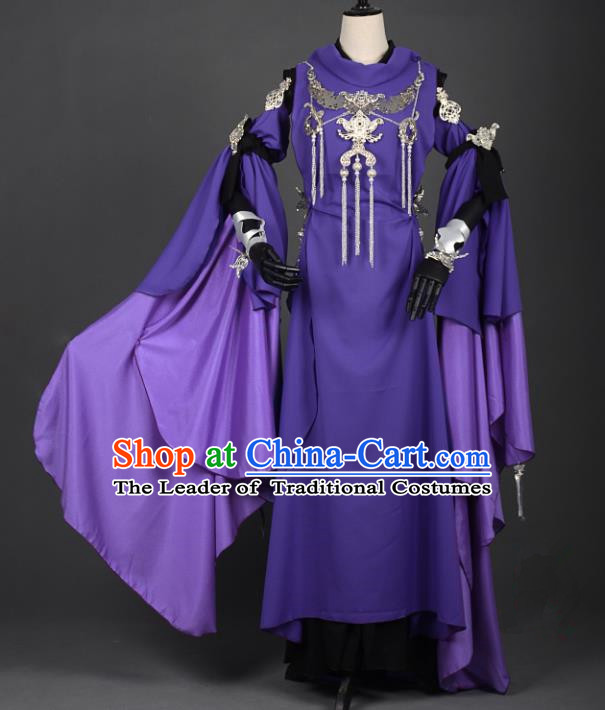 Chinese Ancient Cosplay Han Dynasty Chivalrous Woman Costumes, Chinese Traditional Purple Dress Clothing Chinese Cosplay Swordsman Costume for Women