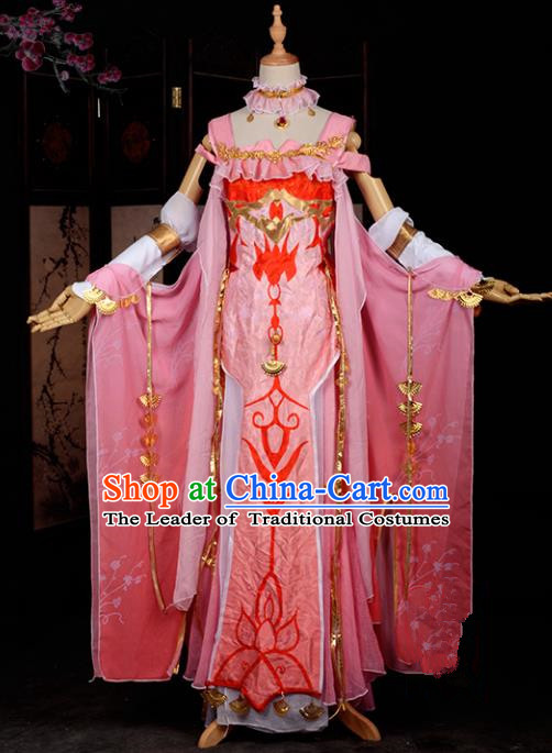 Chinese Ancient Cosplay Han Dynasty Royal Princess Costumes, Chinese Traditional Pink Dress Clothing Chinese Cosplay Swordsman Costume for Women
