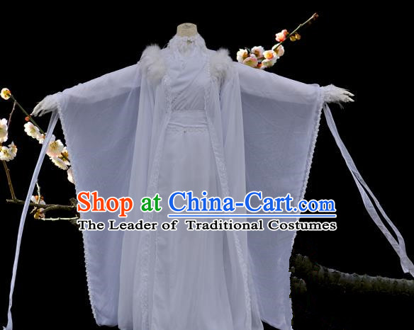 Chinese Ancient Cosplay Young Lady White Costumes, Chinese Traditional Dress Clothing Chinese Cosplay Princess Costume for Women
