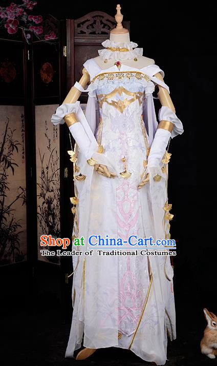 Chinese Ancient Cosplay Han Dynasty Royal Princess Costumes, Chinese Traditional White Dress Clothing Chinese Cosplay Swordsman Costume for Women