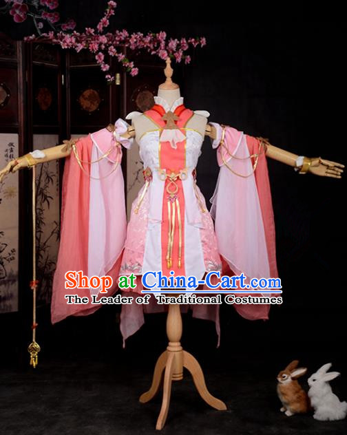 Chinese Ancient Cosplay Han Dynasty Young Lady Costumes, Chinese Traditional Pink Clothing Chinese Cosplay Swordsman Costume for Women