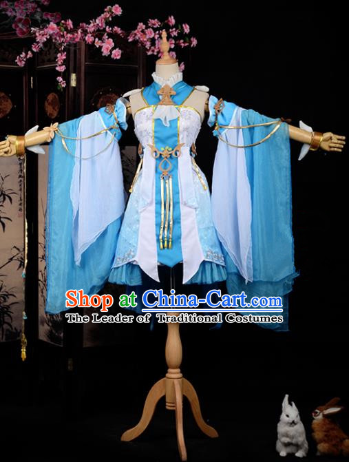 Chinese Ancient Cosplay Han Dynasty Young Lady Costumes, Chinese Traditional Blue Clothing Chinese Cosplay Swordsman Costume for Women