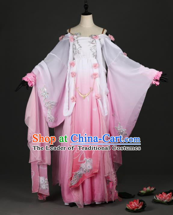 Chinese Ancient Cosplay Tang Dynasty Palace Lady Costumes, Chinese Traditional Pink Hanfu Dress Clothing Chinese Cosplay Imperial Princess Costume for Women