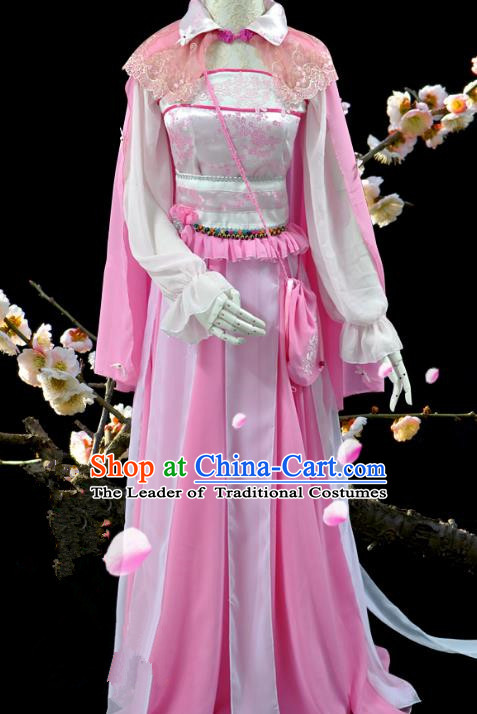 Chinese Ancient Cosplay Swordswoman Pink Costumes, Chinese Traditional Dress Clothing Chinese Cosplay Princess Costume for Women