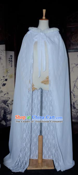 Chinese Ancient Cosplay Tang Dynasty Chivalrous Lady Fairy Cloak, Chinese Traditional White Hanfu Cape Clothing Chinese Cosplay Swordswoman Costume for Women