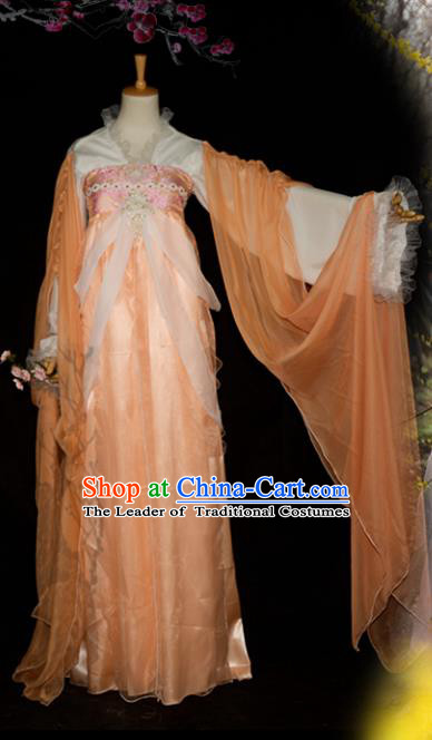 Chinese Ancient Cosplay Tang Dynasty Imperial Concubine Costumes, Chinese Traditional Fairy Apricot Dress Clothing Chinese Cosplay Palace Lady Costume for Women