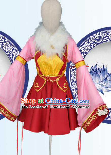 Chinese Ancient Cosplay Young Lady Costumes, Chinese Traditional Dress Clothing Chinese Cosplay Palace Lady Costume for Women