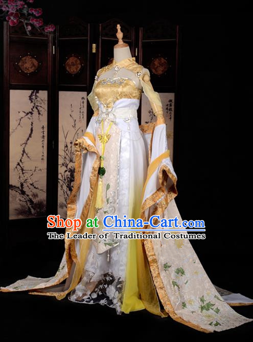 Chinese Ancient Cosplay Han Dynasty Fairy Costumes, Chinese Traditional Golden Embroidery Hanfu Dress Clothing Chinese Cosplay Princess Costume for Women