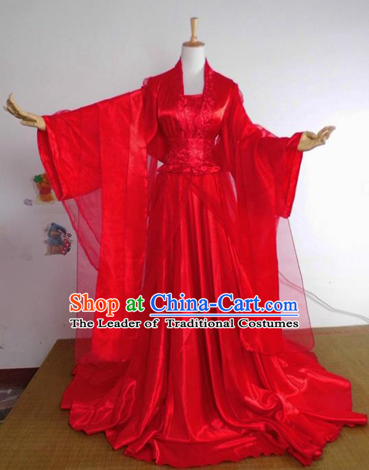 Chinese Ancient Cosplay Tang Dynasty Imperial Princess Wedding Costumes, Chinese Traditional Hanfu Red Dress Clothing Chinese Palace Lady Costume for Women