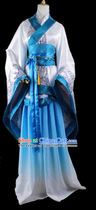 Chinese Ancient Cosplay Han Dynasty Imperial Princess Wedding Costumes, Chinese Traditional Hanfu Blue Dress Clothing Chinese Palace Lady Costume for Women