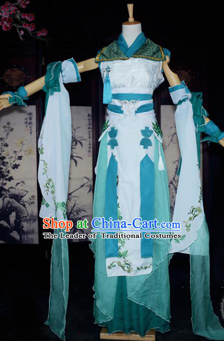 Chinese Ancient Cosplay Tang Dynasty Swordswoman Embroidery Green Dress, Chinese Traditional Hanfu Clothing Chinese Fairy Costume for Women