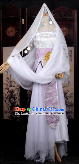 Chinese Ancient Cosplay Tang Dynasty Princess Dance White Dress, Chinese Traditional Hanfu Clothing Chinese Fairy Palace Lady Costume for Women