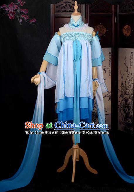 Chinese Ancient Cosplay Young Lady Princess Dance Dress, Chinese Traditional Hanfu Clothing Chinese Fairy Flying Apsaras Costume for Women